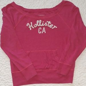 Hollister pink and white sweatshirt.